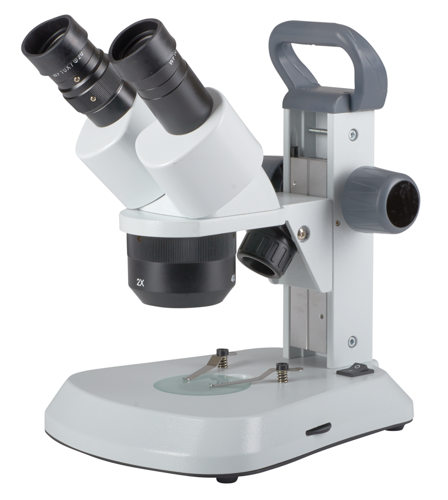 OM124L Triple Power 10x, 20x, 40x Rechargeable LED Student Stereo Microscope angle